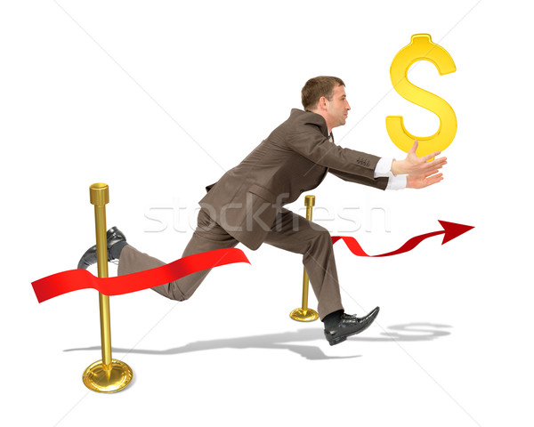Businessman with dollar sign finishing Stock photo © cherezoff