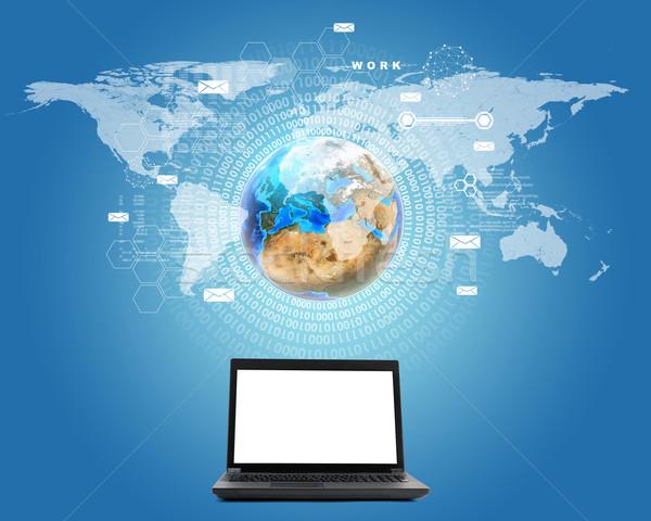 Laptop tela terra preto azul mapa Foto stock © cherezoff