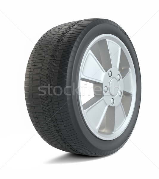 Rubber tire. Isolated on white Stock photo © cherezoff