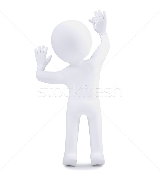 3d human with chalk writing on a white wall Stock photo © cherezoff