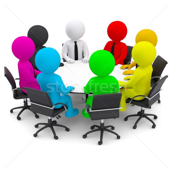 Tarka emberek ül asztal izolált render Stock fotó © cherezoff