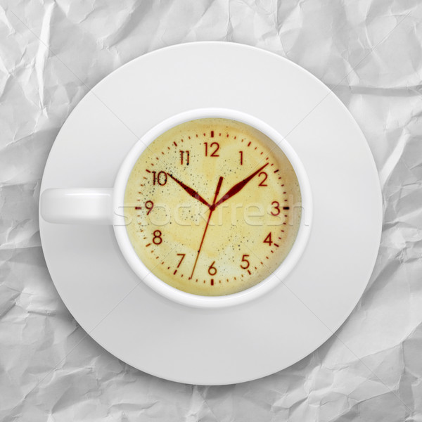 Picture of the clock face in the coffee foam Stock photo © cherezoff