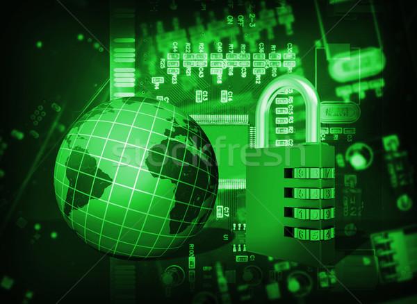 Futurisztikus integrált áramkör kód zár földgömb Stock fotó © cherezoff