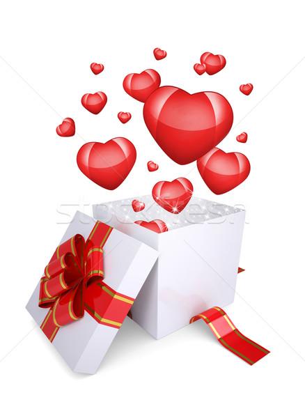 красный сердцах лет из открытых шкатулке Сток-фото © cherezoff