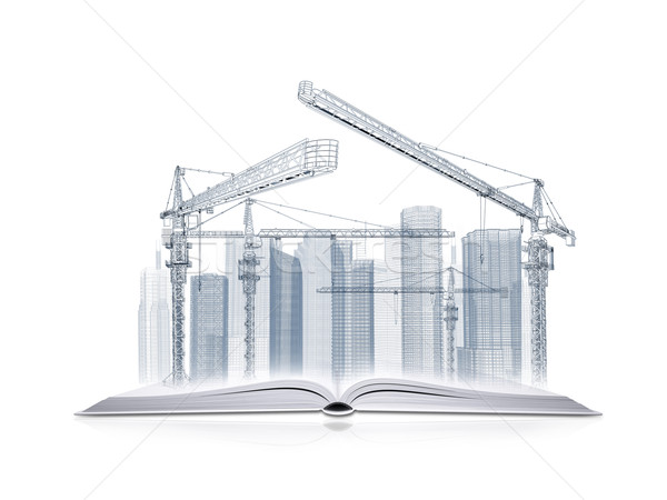 Open book and wire frame skyscrapers Stock photo © cherezoff