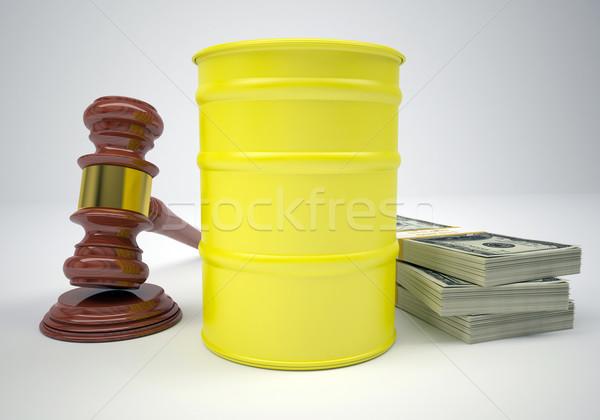 Martelletto soldi barile gas grigio legge Foto d'archivio © cherezoff
