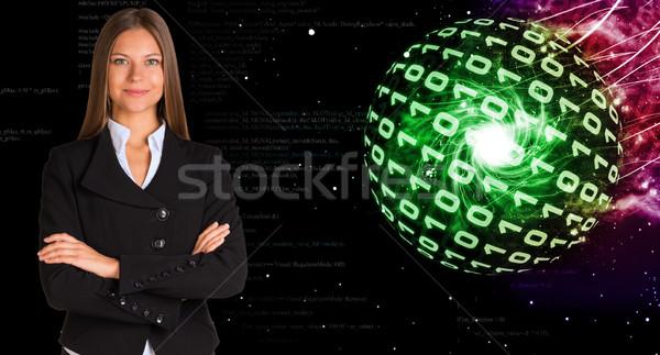 Empresária terno esferas dígitos abstrato Foto stock © cherezoff