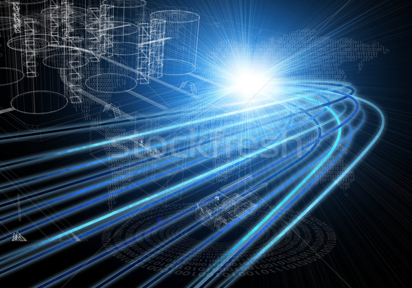 Wire-frame industrial tanks with light on dark background Stock photo © cherezoff