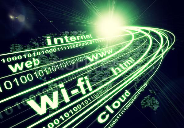 Continentes luz dígitos palavras como internet Foto stock © cherezoff