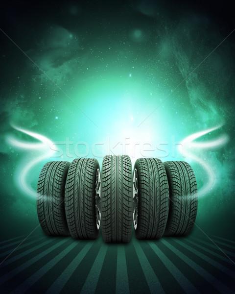 Wedge nouvelle voiture roues ciel de la nuit inférieur Photo stock © cherezoff