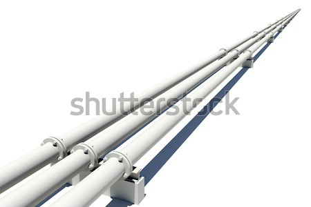 Three white industrial pipes with shadow. Isolated Stock photo © cherezoff