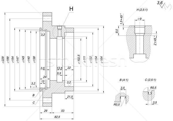 Sapka rajz mérnöki rajz vonalak szög Stock fotó © cherezoff