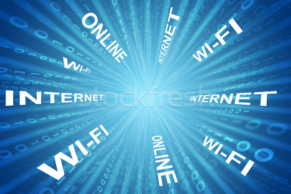 Abstrakten Matrix Business Worte Technologie blau Stock foto © cherezoff