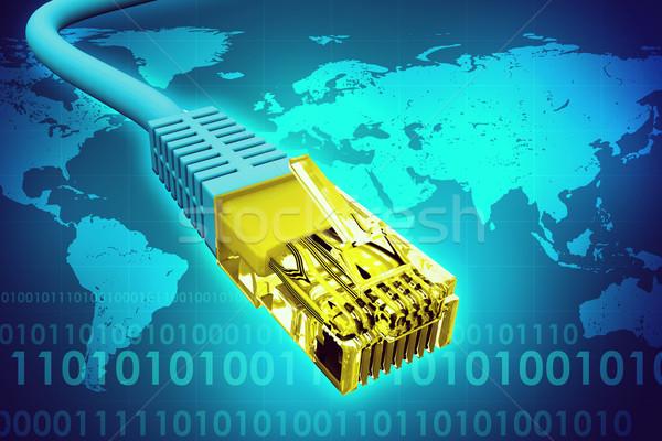 Złoty kabel komputerowy streszczenie niebieski mapie świata Zdjęcia stock © cherezoff