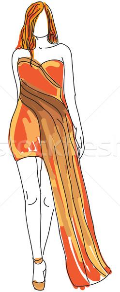 Rajzolt nő narancs estélyi ruha Stock fotó © cherezoff