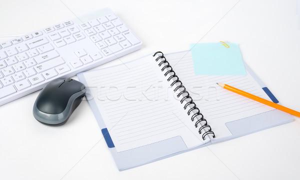 キーボード コンピューターのマウス ノートブック 孤立した 白 ストックフォト © cherezoff