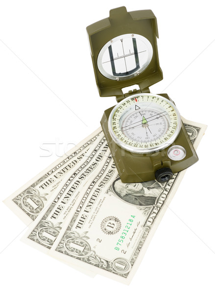 Vintage compass with cash Stock photo © cherezoff