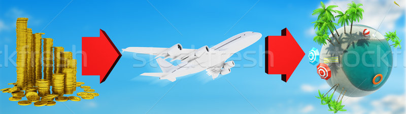 Coins, jet and earth globe Stock photo © cherezoff