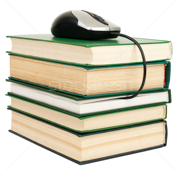 Livros mouse de computador topo isolado branco Foto stock © cherezoff