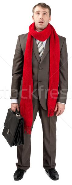 üzletember torokfájás piros sál izolált fehér Stock fotó © cherezoff