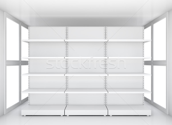 Exhibition space, Empty retail shelves Stock photo © cherezoff