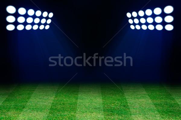 Two spotlights on football grass field Stock photo © cherezoff