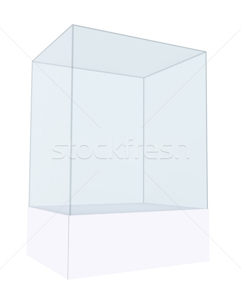3D empty glass box for exhibit Stock photo © cherezoff