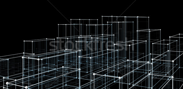Abstract cubes. Network connection background Stock photo © cherezoff