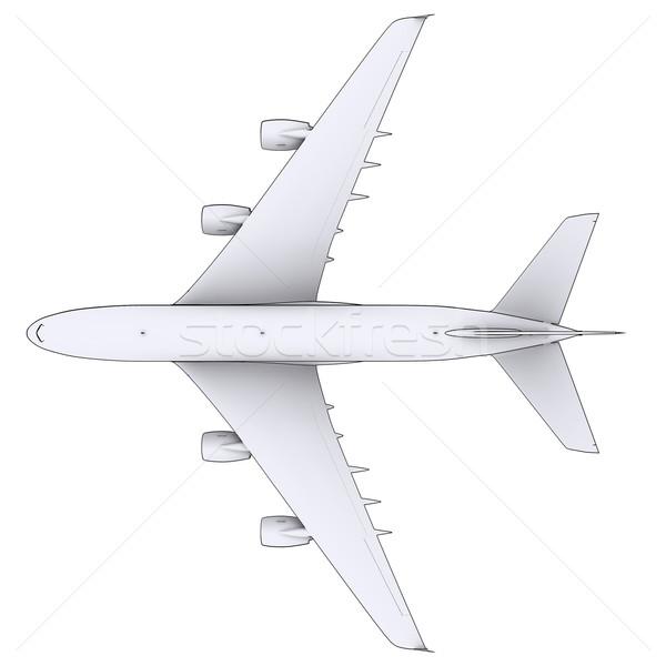 Groot witte vliegtuig geïsoleerd geven lijnen Stockfoto © cherezoff