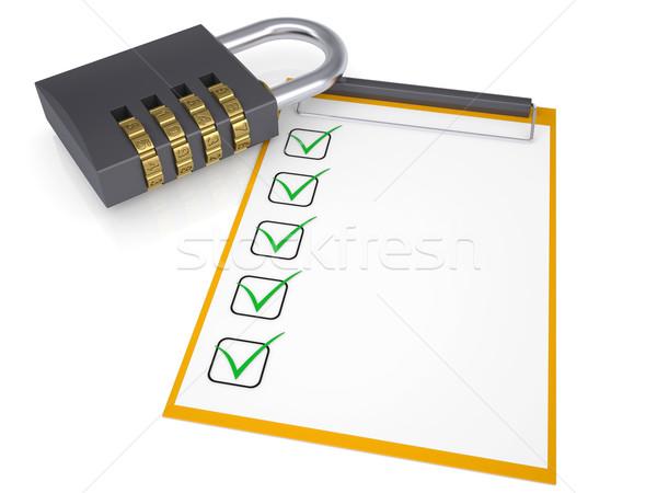 Combination lock and checklist Stock photo © cherezoff