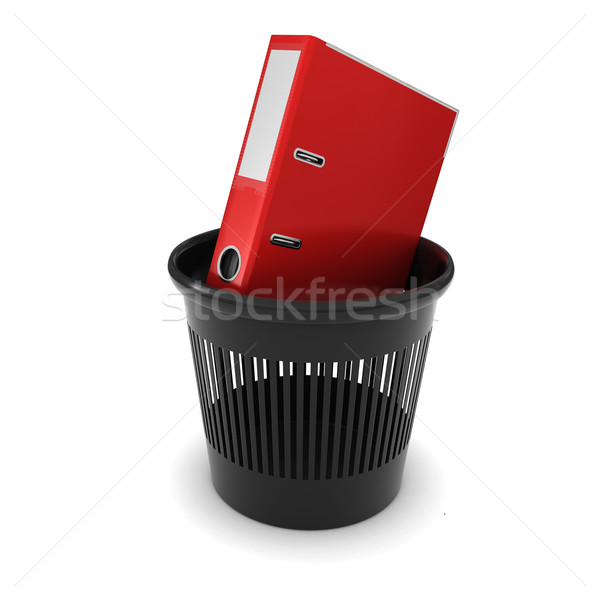Red Office folder with documents in a black trash Stock photo © cherezoff