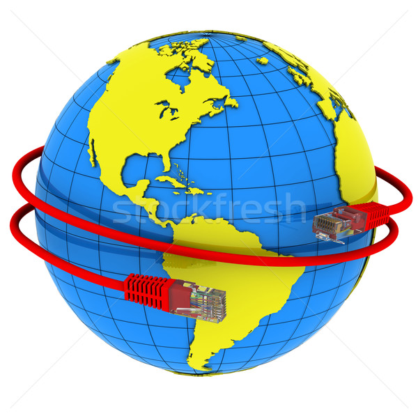 Red Internet cable wraps around the planet Earth Stock photo © cherezoff