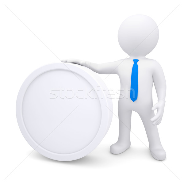 3d man with a white oval frame Stock photo © cherezoff