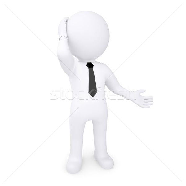 3d white human thoughtfully hand on the head Stock photo © cherezoff