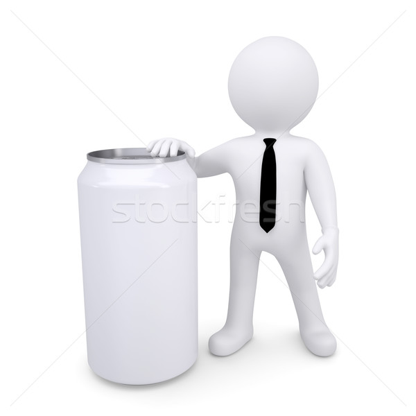 3D biały człowiek puszka biały sody odizolowany Zdjęcia stock © cherezoff