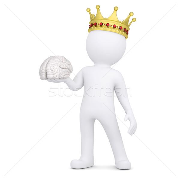 3D blanke man kroon hersenen geïsoleerd geven Stockfoto © cherezoff