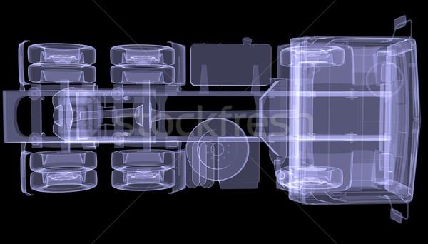 Nagy teherautó röntgen izolált 3d render fekete Stock fotó © cherezoff