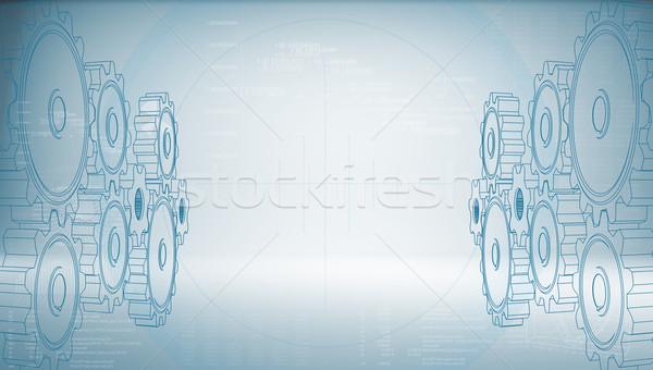 High-tech gear on a blue background Stock photo © cherezoff