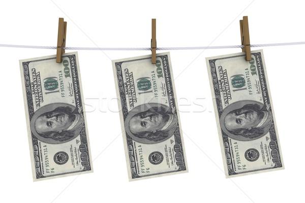 Stockfoto: Dollar · wasknijper · lijn · kleding · financieren · bank