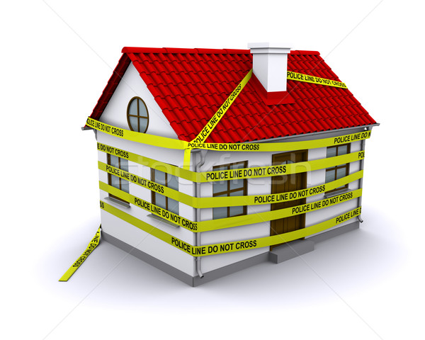 enmeshed in small house police tape Stock photo © cherezoff