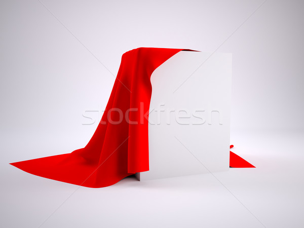 Boîte couvert rouge drap studio Photo stock © cherezoff
