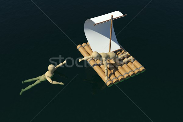 The wooden man on a raft pulled out to a drowning man. Top view Stock photo © cherezoff