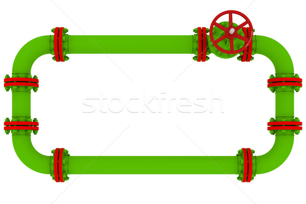 Stock photo: Banner of pipes and valves