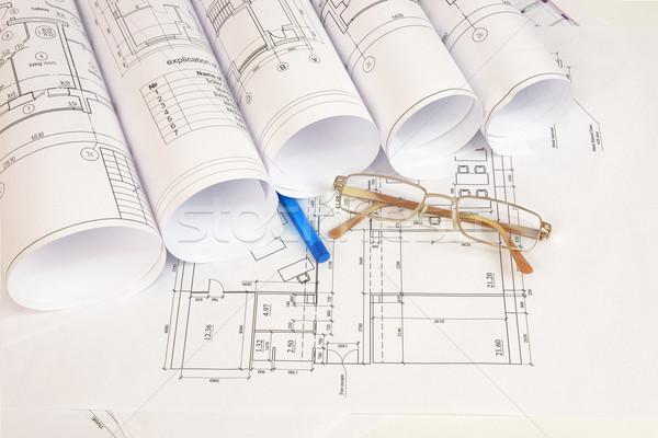 Construção desenhos óculos caneta superfície Foto stock © cherezoff