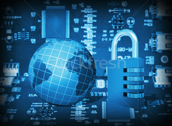 Futuristic integrated circuit, code lock and globe Stock photo © cherezoff