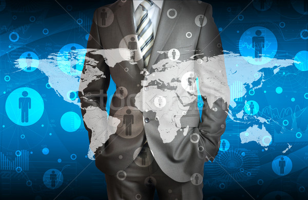 Businessman in suit with contacts Stock photo © cherezoff