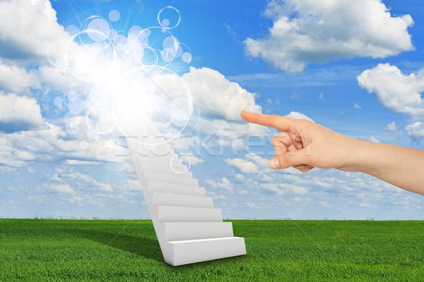 Ujj lépcsőfeljáró menny felhők nap kéz Stock fotó © cherezoff