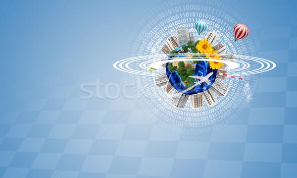 ストックフォト: 地球 · 建物 · 花 · 空気 · 風船