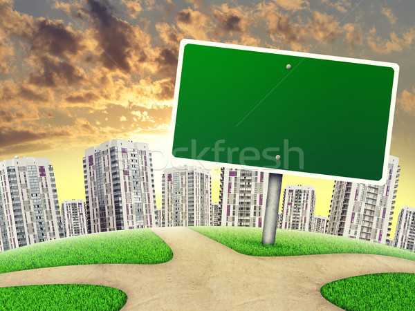 Billboard against line of high-rise buildings, on sunset, curved Earth Stock photo © cherezoff