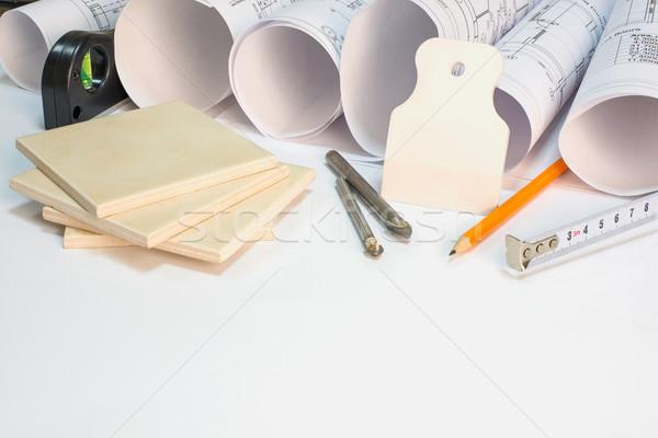 Desenho construção ferramentas materiais construtores Foto stock © cherezoff